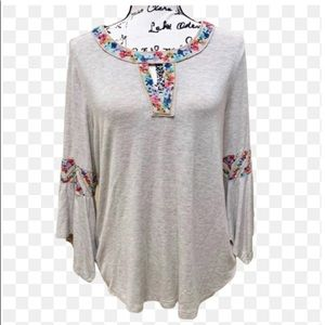 Democracy Floral Embroidery Bell Sleeve Blouse